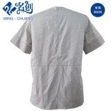 Camicia grigia di modo della Posteriore-Chiusura lampo del manicotto di Short del collare del basamento