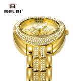 Extérieurs romains ovales de montre de quartz de montre d'or d'acier inoxydable de femmes de Belbi imperméabilisent la montre