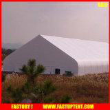 曲げられた形の耐火性のテントのFabricforの白の屋外のイベントのテントの倉庫のおおい