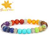 SMB-16112809 10mm weiße Farben-Türkis-halb kostbarer Stein-Armbänder