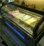 LED, die Minieiscreme-Bildschirmanzeige-Gefriermaschine/Gelato Verkaufsmöbel (F-QV680A-W, beleuchtet)