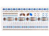 Autoadesivo provvisorio impermeabile metallico del tatuaggio dei monili blu d'argento dell'oro