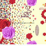 l'impression Pigment&Disperse de léopard de 100%Polyester Rose a estampé le tissu pour le jeu de literie