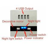 夜ライトと出力されるホーム自在継手4ポート5V 3000mA充満版USBの壁のソケット