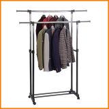 Hi-Quality ropa de doble capa estante de la suspensión con ruedas para secar la ropa Jp-Cr402