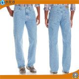 Calças de brim baratas do tipo do algodão básico por atacado das calças de brim dos homens