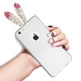 Les oreilles de lapin transparentes créatrices desserrent la caisse de miroir pour l'iPhone 6/6plus