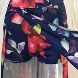 Vestito sexy 2017 dalla donna fuori dal vestito spaccato dal randello del partito del partito di Schouder di Short del manicotto di Bodycon Boho di livello floreale del panno più il formato