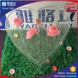 Rectángulo de acrílico modificado para requisitos particulares fabricación de la flor de China en dimensión de una variable del corazón