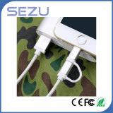 Fábrica diretamente 2 em 1 cabo de trançamento de dados e carregamento USB Mfi Certificado para iPhone e Android (Prata)