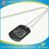 Des Förderung-Marke Großhandelsform-kundenspezifisches Edelstahl-Metallmilitärnamen-/Pet/ID/Dog mit Druck-Firmenzeichen und Halskette (XF-DT06)