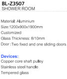 Schiebender Aluminiumdusche-Eckraum mit ausgeglichenem Glas (BL-Z3507)