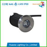 IP68 luz subaquática do diodo emissor de luz do mini branco morno do aço inoxidável 1W