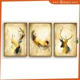 ホーム装飾のための壁の芸術の金のシカ動物の油絵