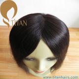 Peluca llena del cordón de las mujeres del pelo humano de la Virgen negra natural del 100%