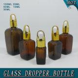 Heiße verkaufende quadratische bernsteinfarbige wesentliches Öl-Tropfenzähler-Glasflasche
