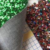 Couro grande do plutônio do Glitter de Sequines para as sandálias Hw-851 das sapatas dos miúdos das senhoras