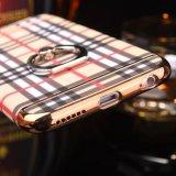 Caja dura cristalina del cromo del soporte del anillo de la caja del teléfono celular para el iPhone 7 6 4.7 más