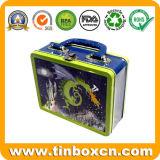 ハンドルの錫の容器、昼食の錫が付いている金属のギフト用の箱