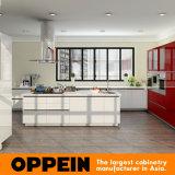 Gabinetes de cozinha elevados vermelhos brancos modernos da laca do lustro de Oppein (OP16-L13)