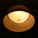 Chinesische Art-Hotel-weißes Opalrattan-runde hängende Lampe