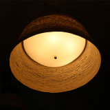 Chinese Style Opal White Rattan Round Pendant Lamp