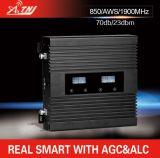 三バンド850/1900/Aws1700/2100MHz移動式シグナルのブスター2g 3G 4Gのシグナルの中継器キット