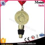 Médailles faites sur commande de taquet de bouteille de vin en caoutchouc de silicones en métal de zinc