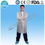 Robe remplaçable non-tissée de laboratoire de vêtements de visiteur de couche de laboratoire