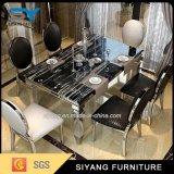 ステンレス鋼の家具の大理石のダイニングテーブルの拡張可能なダイニングテーブル