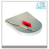 Qualitäts-Blumen-Dekoration-Toiletten-Sitz mit Weiche-Abschluss-Scharnieren