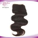 Fechamento brasileiro do laço do cabelo humano da onda 100% do corpo do cabelo