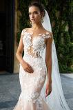 Nixe-Illusion-Stutzen-Elfenbein-/Champagne-Hochzeits-Kleid
