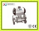 Le DIN a bridé 3PC le robinet à tournant sphérique de l'acier inoxydable CF8m/1.4408 Pn40
