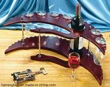 Estante de madera elegante y agraciado del vidrio de vino con el estante de la botella