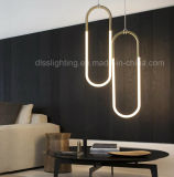 La lampe pendante s'arrêtante économiseuse d'énergie moderne de tubes en U d'Iron&Glass DEL décorent le café