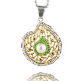 CZ 돌은 보석 실제적인 금에 의하여 도금된 꽃 펀던트 목걸이 도매를 포장한다