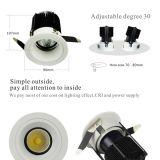 2.5 인치 10W LED Downlight 75mm 삭감한 구멍은 호텔 화랑을%s 널리 쓴다