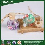 frasco de vidro Shaped do pendente do perfume da esfera 12ml redonda com o frasco de perfume cosmético pequeno da superfície da argila do polímero com tampão de madeira