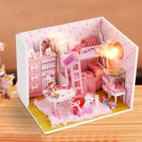 Juguete de madera casa de muñecas rosa para los niños