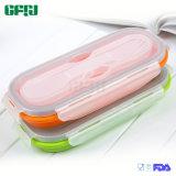 De Vrije Uitrusting van de Maaltijd van de Doos van de Lunch van het Silicone BPA Opvouwbare met de twee-Gebeëindigde Ingebouwde Lepel van de Vork
