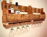 Rustikales Georgia-weiße Kiefer-Wein-Zahnstangen-Flaschen-Regal u. Glas-Zahnstange