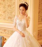Половин-Втулка шеи ветроуловителя Appliques платье венчания мантии шарика шнурка (Dream-100050)