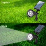 Solar Spotlight 2-em-1 ajustável 4 LED Wall Mount / Paisagem Inserir luzes solares com sensor automático de ligar / desligar