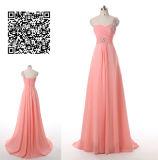 Линия одно платье Bridesmaid плеча Coral полнометражное шифоновое с отбортовывать