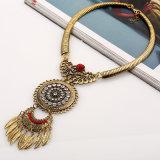 Moda Metal Alloy Crystal Leaves Tassel Choker Necklace Jewelry
