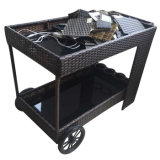 Outdoor Indoor Garden Restaurante Móveis Handmade Rattan Hotel Wheel Barrow Dining Cart / Car