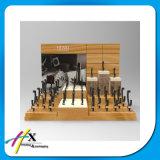 Visualización de madera del reloj de la visualización de acrílico del Trade-Show con la laca Alto-Brillante