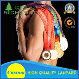 I rifornimenti del fornitore hanno personalizzato la sagola del nastro di sublimazione per il supporto della medaglia di oro di sport