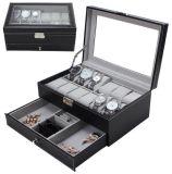 Caixa de relógio caixa de jóias caixa de couro para armazenamento e exibição
